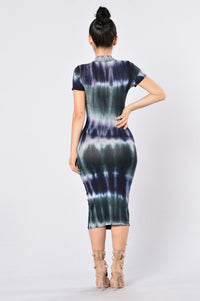 Dye Me Up Dress - Navy/Grey Angle 2