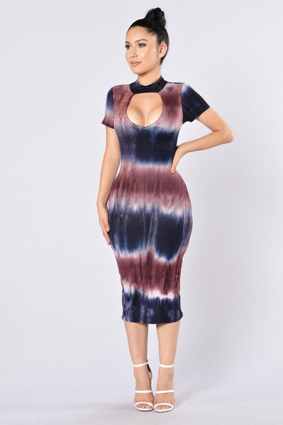 Dye Me Up Dress - Navy/Burgundy