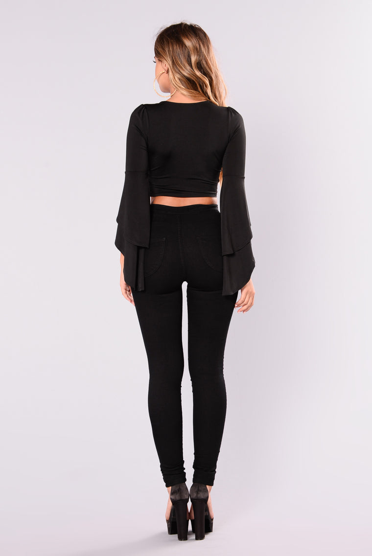 Spin Me Around Bell Sleeve Top - Black