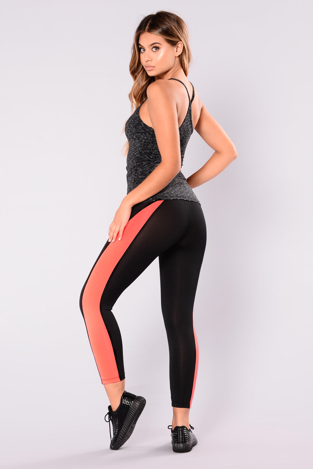 Barbara Active Leggings - Black/Neon Coral