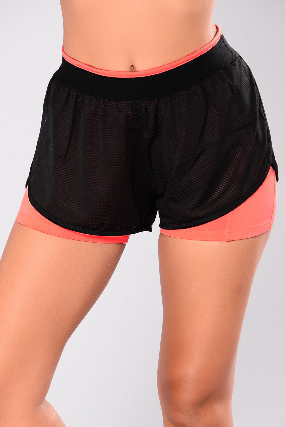 Hidden Hills Layered Active Shorts - Black/Coral