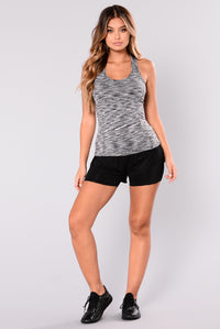 Clarissa Mesh Active Tank Top - Black/White