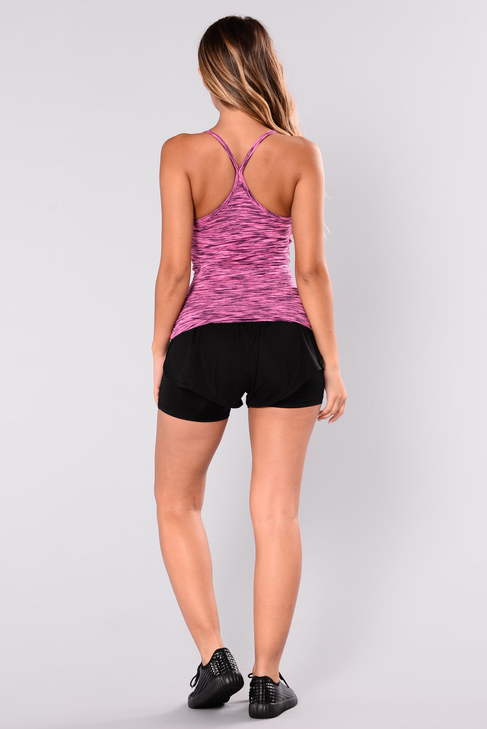 Trendster Active Tank Top - Fuchsia/Black