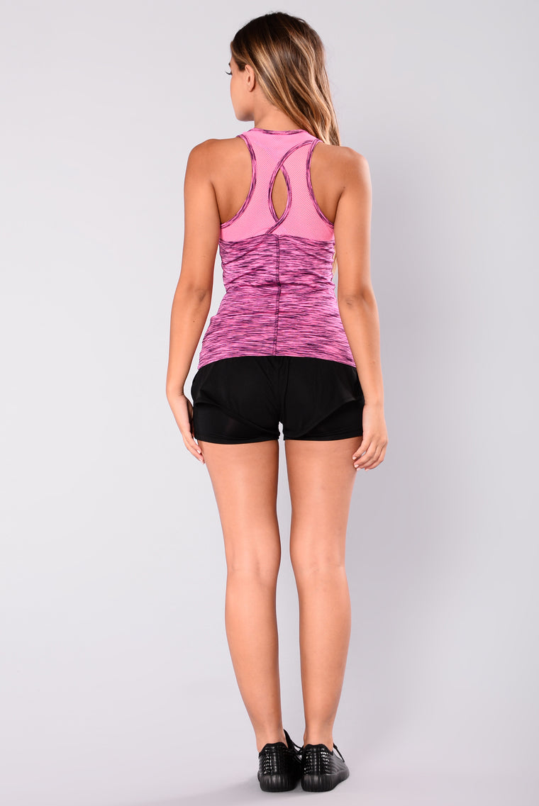 Clarissa Mesh Active Tank Top - Fuchsia/Black