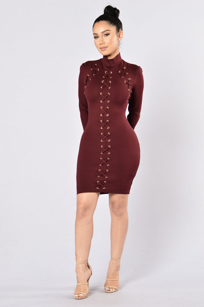 Experienced Dress - Burgundy