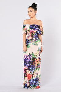Deep Tropics Dress - Peach Angle 1