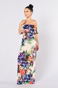 Deep Tropics Dress - Peach Angle 3