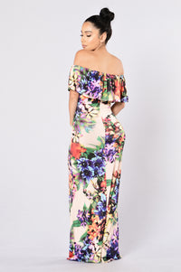Deep Tropics Dress - Peach Angle 2
