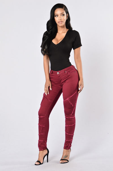 Patch it Up Jeans - Merlot