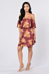 Give Love A Chance Dress - Burgundy Floral Angle 1