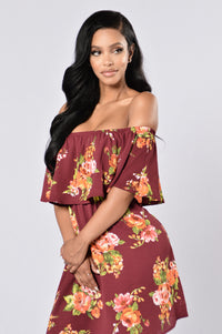 Give Love A Chance Dress - Burgundy Floral Angle 2