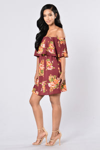Give Love A Chance Dress - Burgundy Floral Angle 6