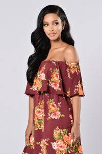Give Love A Chance Dress - Burgundy Floral Angle 4