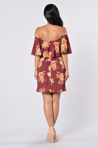 Give Love A Chance Dress - Burgundy Floral Angle 5