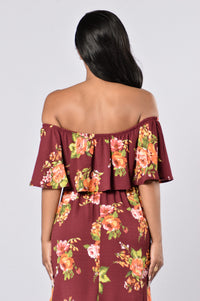 Give Love A Chance Dress - Burgundy Floral Angle 3