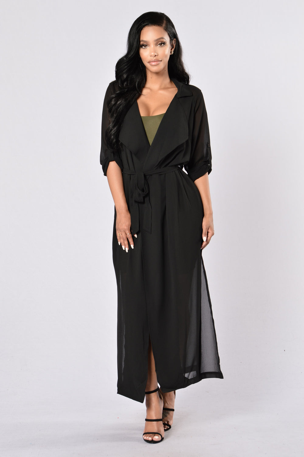 Keep Watching Duster Coat - Black