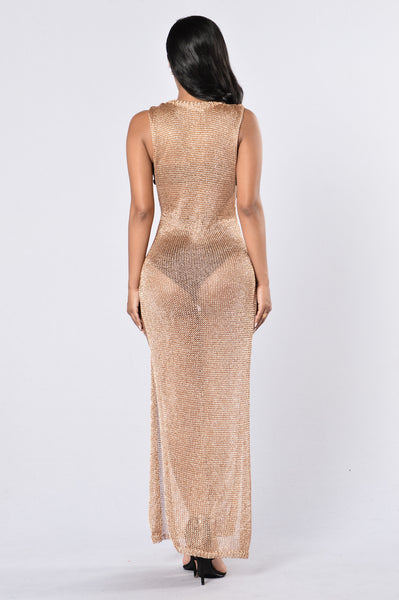Dubai Cover Up Dress - Rose Gold
