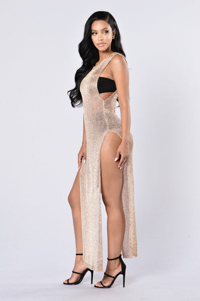 Dubai Cover Up Dress - Gold