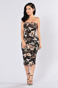 Flowers In Bloom Tube Dress - Black Multi Angle 1