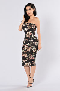 Flowers In Bloom Tube Dress - Black Multi Angle 3