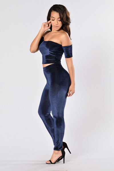 Velvet Night Leggings - Navy