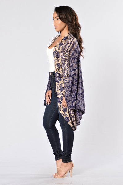 On the Border Kimono - Navy/Mocha