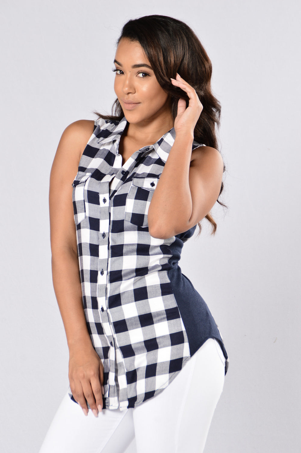 Don't Play Games Plaid Top - Navy/White