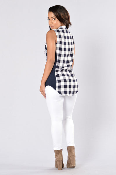 Don't Play Games Plaid Top - Navy/Blue