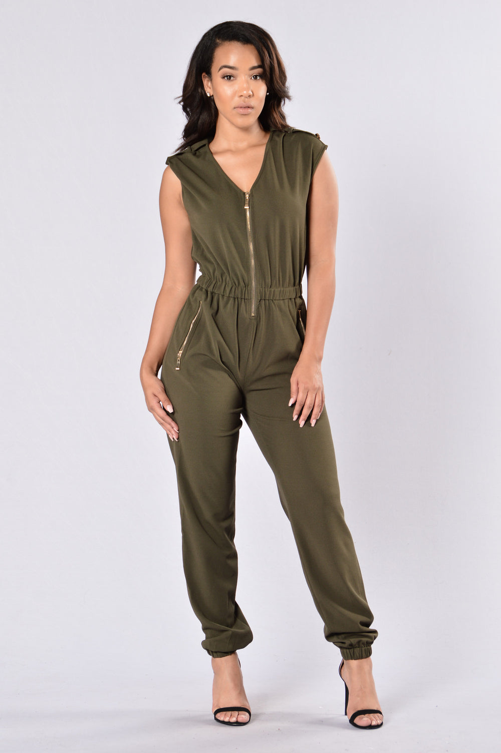 Strut in the Park Jumpsuit - Olive