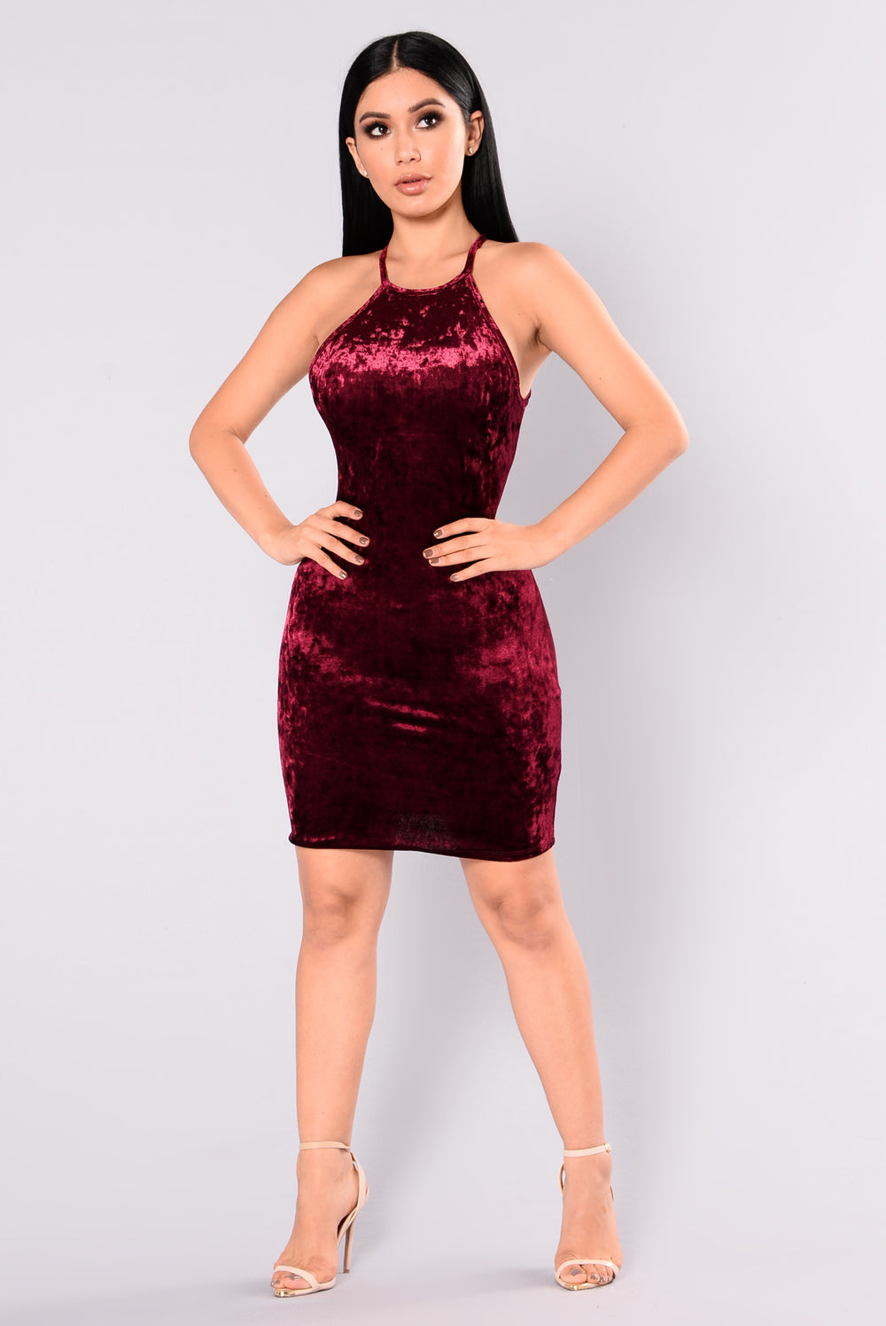 myla velvet dress  burgundy