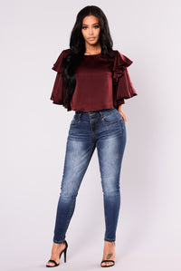 Romi Satin Top - Oxblood