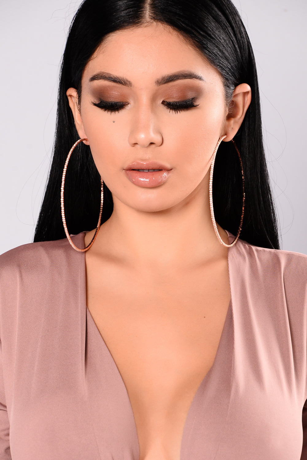 Diamond Ego Hoop Earrings - Rose Gold