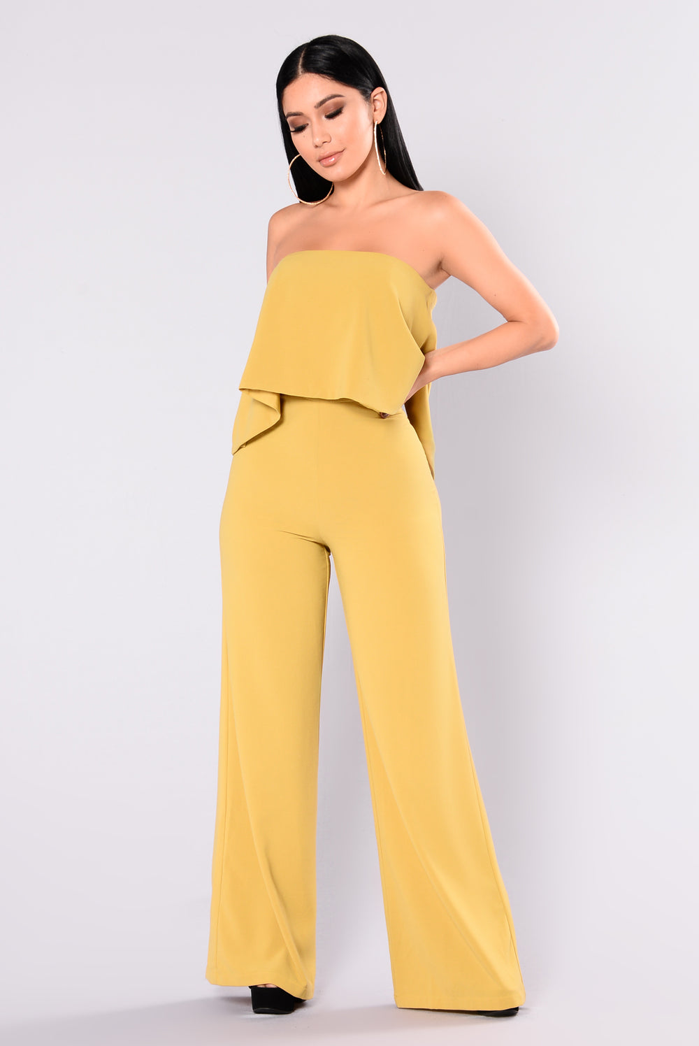 Need Me Baby Tube Jumpsuit - Mustard