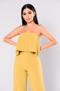 Need Me Baby Tube Jumpsuit - Mustard Angle 2