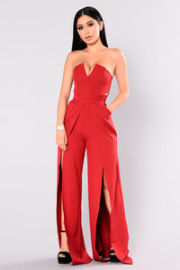 Meet Me Later Jumpsuit - Wine Angle 1