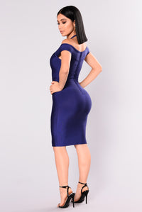 Pandora Bandage Dress - Navy