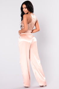 Calithia Wide Leg Satin Pants - Blush
