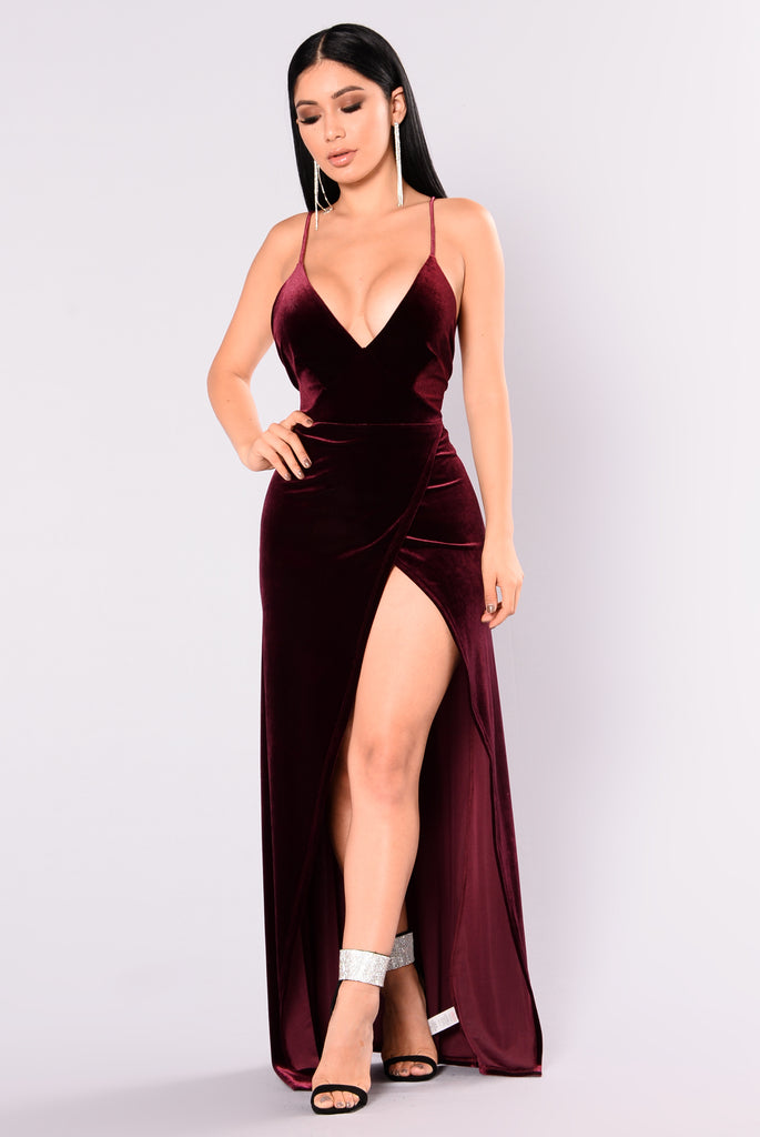 Burgundy Velvet Dress Fashion Nova
