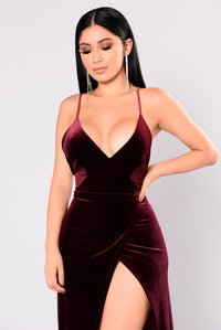 Angelique Velvet Maxi Dress - Dark Burgundy Angle 11
