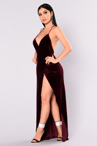 Angelique Velvet Maxi Dress - Dark Burgundy Angle 12