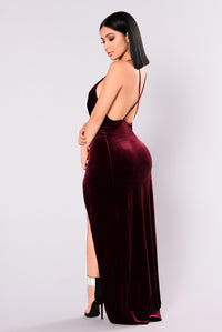 Angelique Velvet Maxi Dress - Dark Burgundy Angle 13