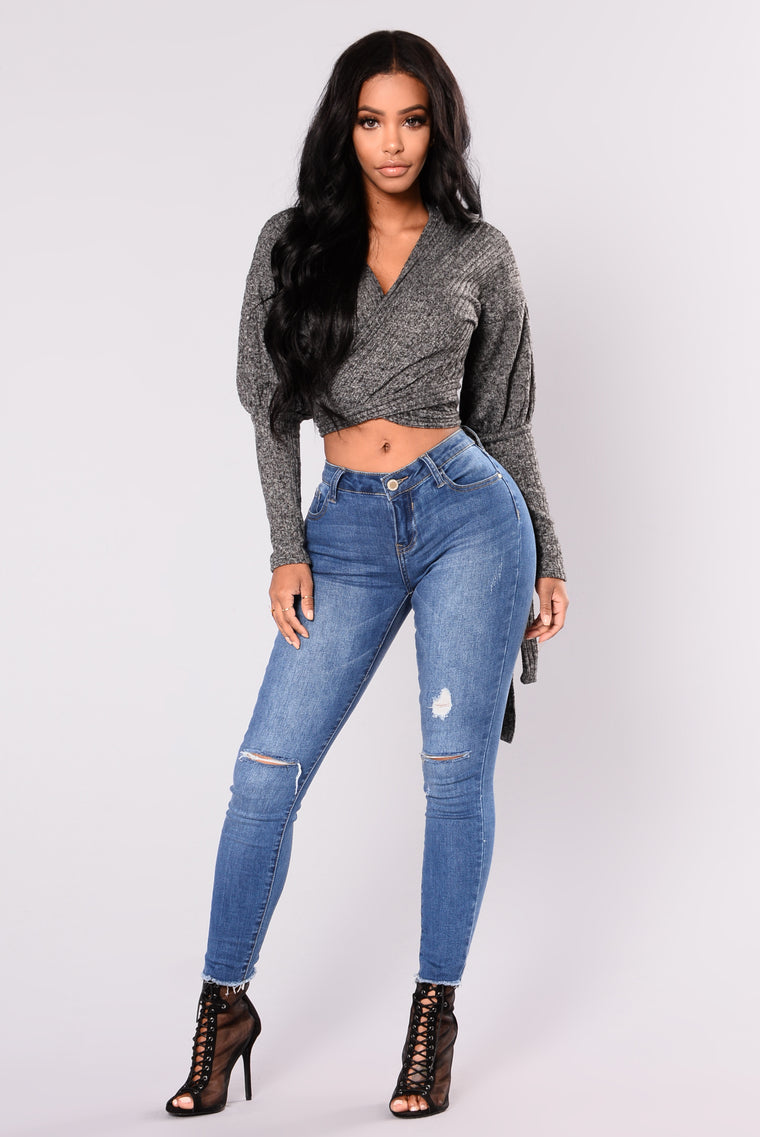 In Your Embrace Wrap Top - Charcoal