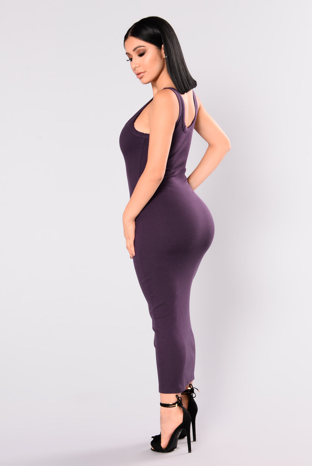 Mulberry Midi Dress - Eggplant
