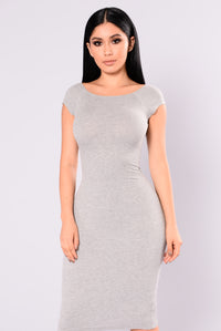 Sable Ribbed Dress - Heather Grey