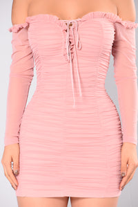 Maura Mesh Dress - Mauve