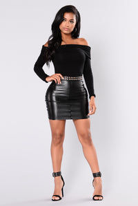 Casual Slay Leather Skirt - Black
