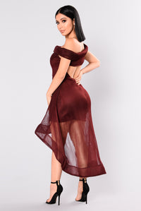 Swept Off My Feet High Low Dress - Wine