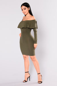 Katrin Flounce Dress - Olive