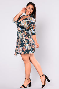 Suzie Floral Dress - Hunter Green