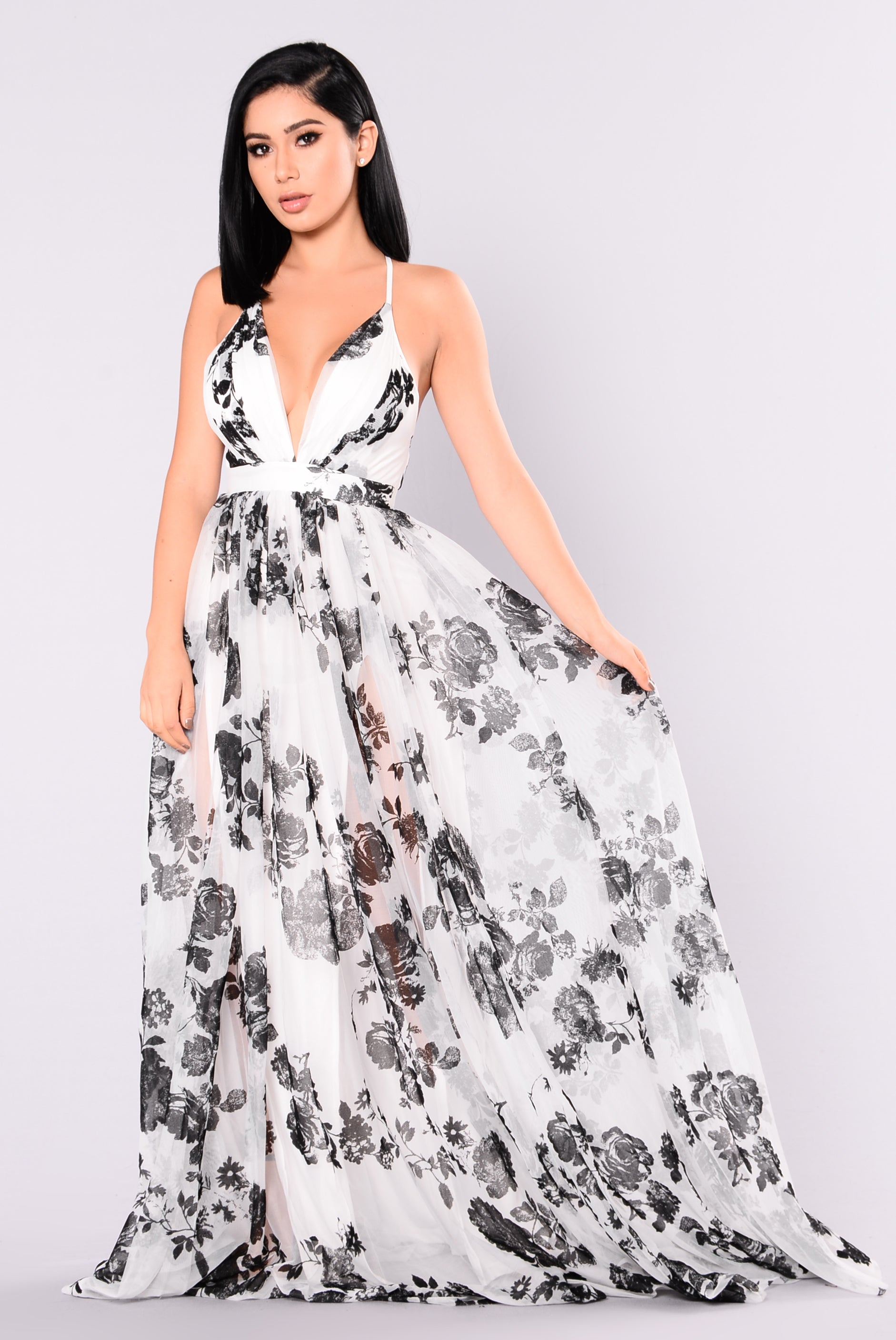 d604f6467b Limited Addiction Mesh Floral Dress - White Black